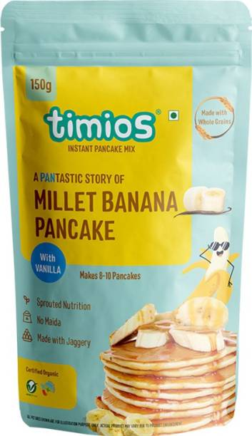 Timios Organic No Maida Millet Pancake Mix-Banana with Vanilla Made with Whole Grains, Jaggery and Sprouted Nutrition Instant and HealthyBreakfast,150gm 150 g