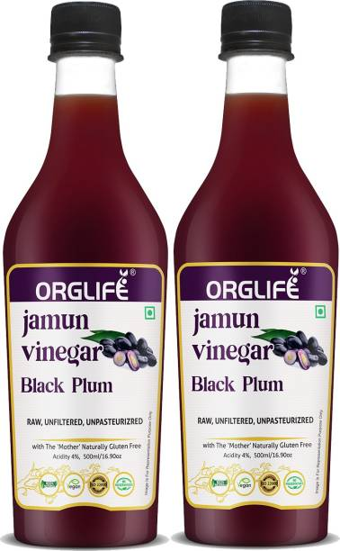 ORGLIFE Jamun Vinegar Organic with Mother 1000 ml - Raw, Unfiltered (Made with Organic Jamun Fruits) Vinegar
