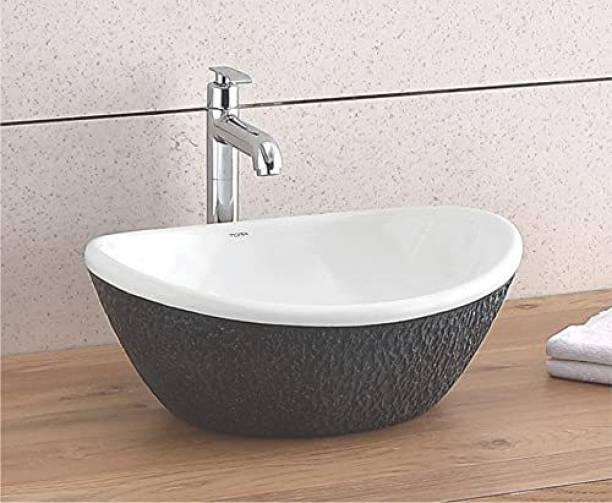 BASSINO Art Wash Basin Countertop, Tabletop Ceramic Bathroom Sink/Basin (White Brown) (420x350x170mm) APPLE-309 Table Top Basin