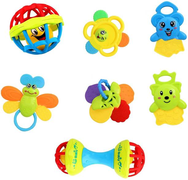 Little Joy Plastic Colorful Non Toxic BPA Free 7 Shake & Grab Rattles and Soothing Teethers for Babies & Infants, Early Age Toys for Kids Rattle