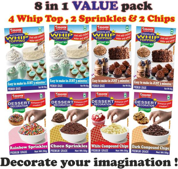 SOOPER WHIP TOP 50g x 4 + DECO 50g x 4 VALUE PACK Topping