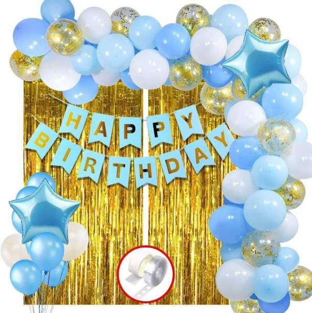 Magic Balloons Solid Happy Birthday Decoration 60pcs Birthday Banner Golden Foil Curtain Metallic Confetti Balloons With Hand Balloon Pump And Glue Dot for Boys Adult Husband Grand Father Dad/Happy Birthday Decorations Items Balloon Balloon
