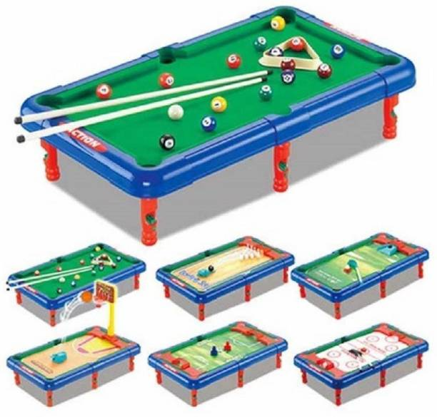 HARSIDDHI CREATION 6 IN 1 TABLE TOP GAME, Ice Hockey, Bowling, Basket Ball, Golf, Football & Snooker Fun Indoor Game Board Table Top Toy for Kids,Boys,Girls and Family Board Game Accessories Board Game
