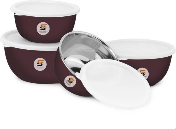 S&S Euro Bowls Microwave Safe(for Reheating only) BPA Free Plastic Coated food grade Serving Storage Mixing Multi Utility Bowl Capacity: Bowl 1:500ml, Bowl 2:800ml, Bowl 3:1400ml, Bowl 4:1900ml Stainless Steel, Polypropylene Mixing Bowl