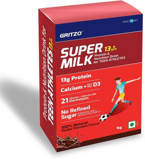 Gritzo SuperMilk 13+y (Teen Athletes), Whey Protein Powder for Kids Growth Nutrition Health Drink