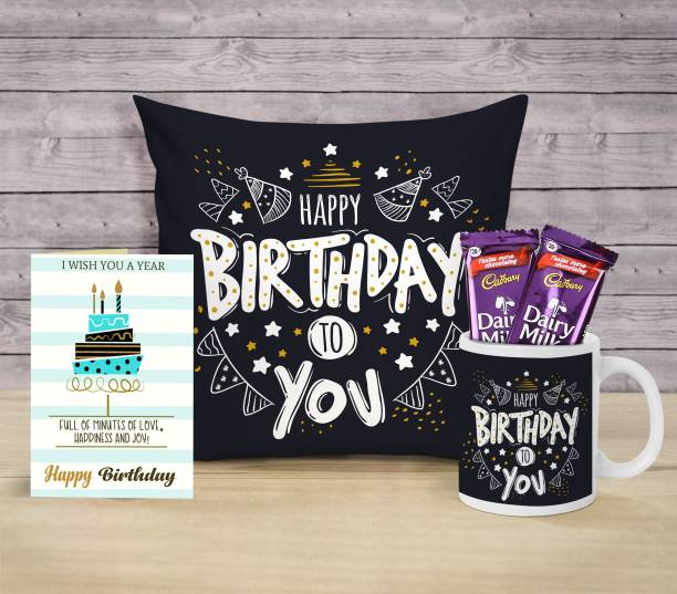 TIED RIBBONS Birthday Combo Pack Cushion Cover with Inner Filler (12 X 12 Inch) , Greeting Card , Coffee Mug and Chocolates Special Birthday Gifts for Girls Boys Sister Brother Girlfriend Boyfriend Brother Sister Husband Wife Microfibre Gift Box