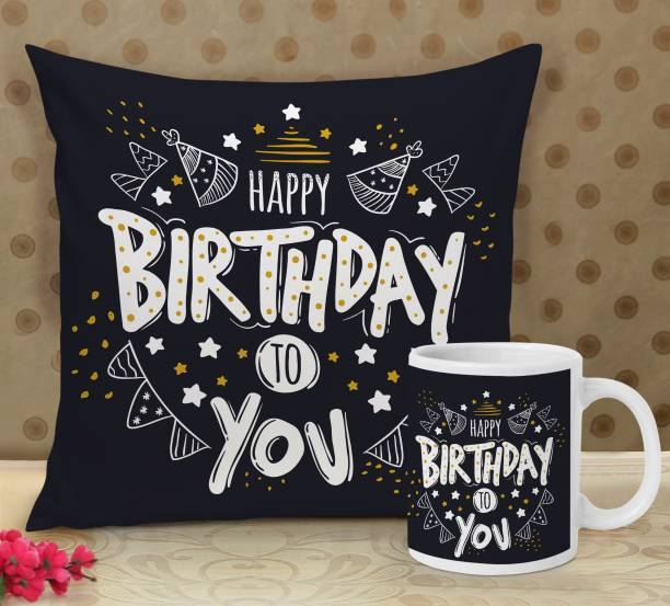 TIED RIBBONS Birthday Printed Cushion Pillow Cover with Inner Filler (12 X 12 Inch) and Birthday Coffee Mug Best Birthday Gifts for Girls Boys Sister Brother Girlfriend Boyfriend Brother Sister Decoration Items Microfibre Gift Box