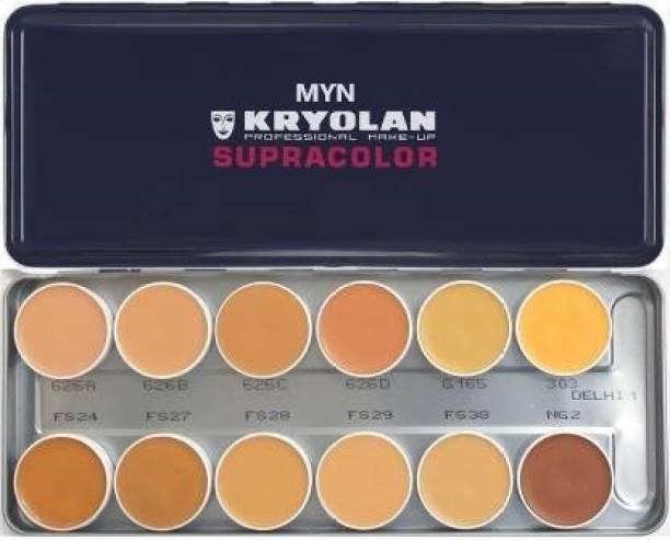 MYN Kryolan Supracolor Professional Foundation Palette 12Color Palette Foundation