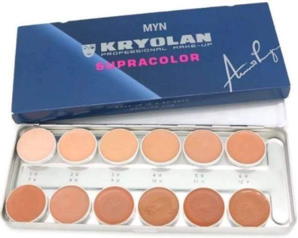 MYN Kryolan Supracolor Foundation 12 color Palette Foundation