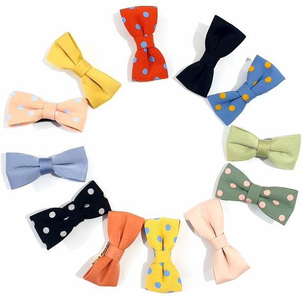 HOMEMATES Baby Girls Simple Clip Plane Polka Hair Bow Clips, Boutique Hair Pins Bow Barrettes for Infants Toddlers Fine Hair Accessories Hair Clips (Set Of 12) Hair Clip