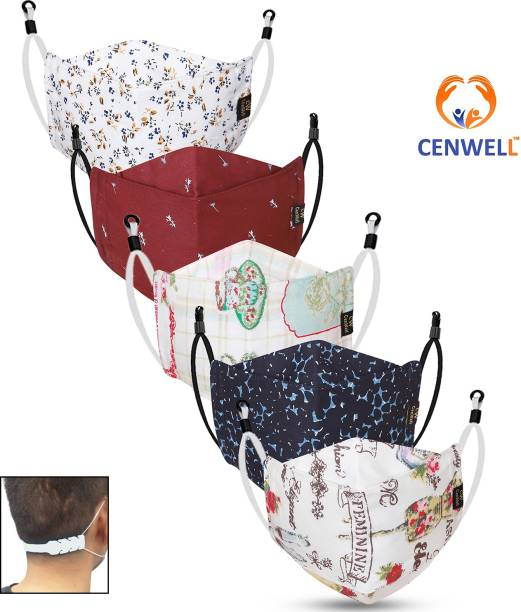 CENWELL Unisex 100% Cotton Designer 3D Shape Face Mask 6 Layer Protective Fashionable Fabric N95 Cotton Fabric Mask for Men ,Women ,Girls , Teens with Adjustable Ear loop ,Ear Saver Strap (Reusable Mask , Washable Mask , Pollution Mask) ADULT 3D MASK Water Resistant, Reusable, Washable Cloth Mask With Melt Blown Fabric Layer