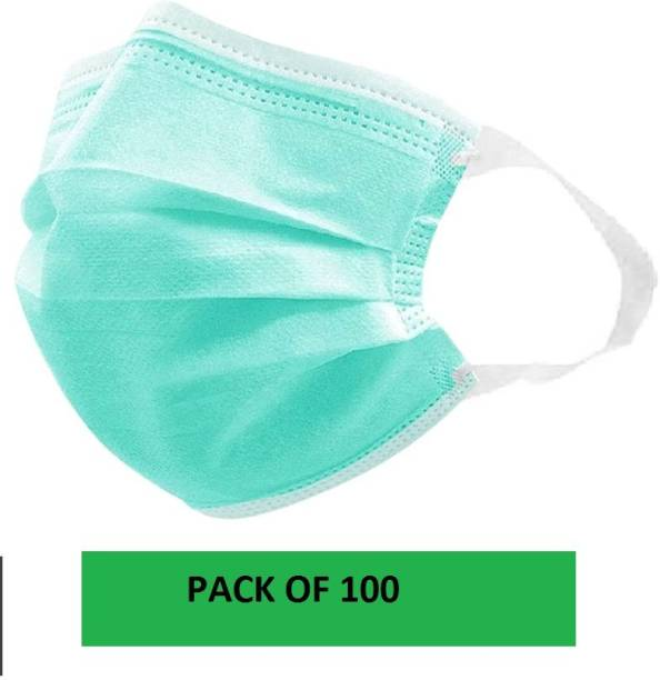 MaxxPro GREEN COLOR 3-Ply Disposable Surgical Mask with Meltblown feather soft Filter and with fabric earloop men and women with nose pin (Sea Green) Surgical Mask With Melt Blown Fabric Layer (Free Size, Pack of 100, 3 Ply) Surgical Mask