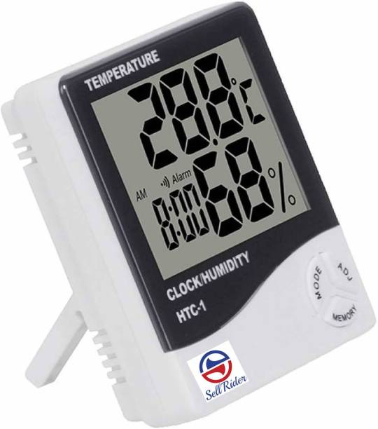 SellRider Imported Humidity Meter -01T Clock High Accuracy LCD Display Thermometer Hygrometer Indoor Temperature Humidity Meter Clock Digital Room Wall Thermometer All-in-One Digital Moisture Measurer