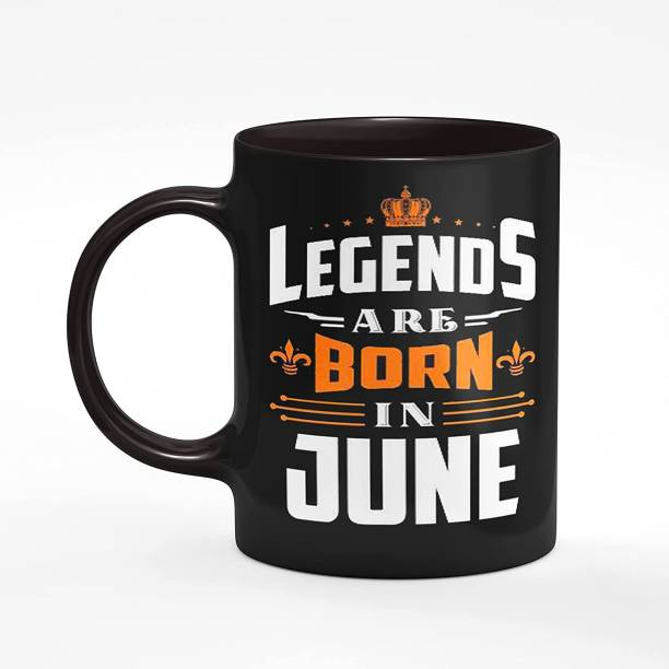 DKraft Legends are Born in June Printed Black CoffeeMug, Happy Birthday Coffee for Brother, Husband, Father, Boyfriend, Friend, Co-Worker (A325) Ceramic Coffee (330 ml) Ceramic Coffee Mug