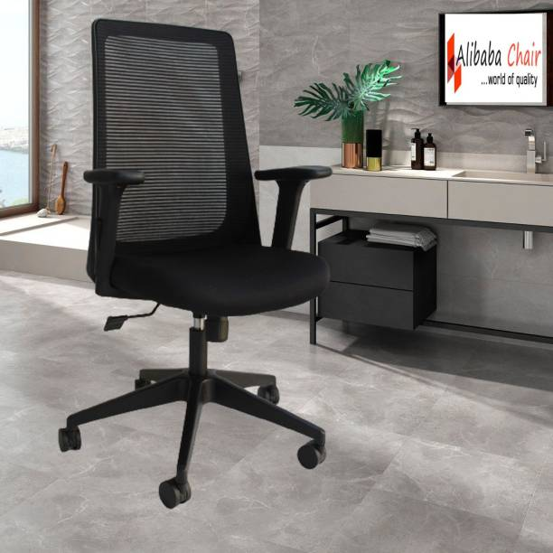 ALIBABA CHAIR ...WORLD OF QUALITY Seat Sliding and Back Lock At Any Position mechanism , 3D Armrest First Time in India from Alibaba chair Mesh, Fabric, Nylon Office Arm Chair
