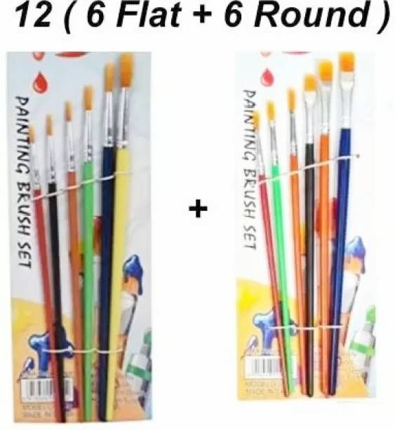CRAZYGOL Painting Brush round 6+ flat 6pcs combo pack 12