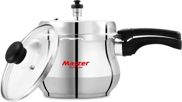 Master Cook-and-serve Stainless Steel Handi with Glass Lid 5.5 L Pressure Cooker
