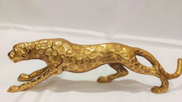 krishnagallery1 Gold Plated Panther/Leopard/ Loin Statue For Home Showpiece , Office Love Couple statue , Couple statue ,Golden Panther Decorative Showpiece  -  18 cm