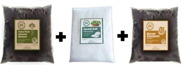 Jeev Rich Complete Plant Nutrition Combo( Cocopeat compost 1KG+ Vermicompost 1KG+ Epsom Salt 1KG) Manure, Soil, Fertilizer, Potting Mixture