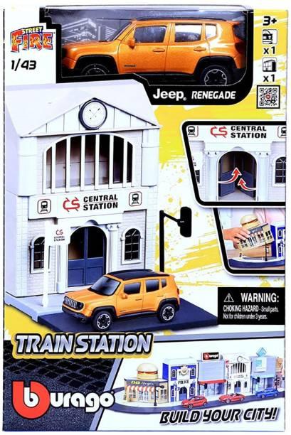 Bburago Street Fire Train Station Playset