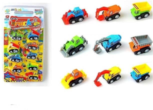 Little Joy Set of 9 Mini Engineering Vehicle Construction Pull Back Truck Toys for Kids