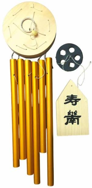 Ripe India Feng Shui Vastu 6 Pipes Rods Wooden Wind Chime for Balcony with Good Sound for Positive Energy approx 8.5 x 8.5 x 60 Centimeters Wood Windchime