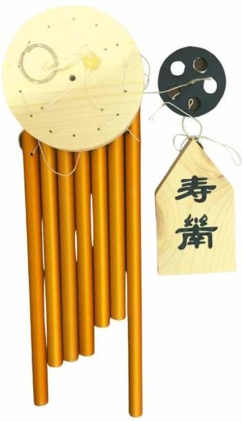 Ripe India Feng Shui Vastu 7 Pipes Rods Wooden Wind Chime for Balcony with Good Sound for Positive Energy Wood Windchime