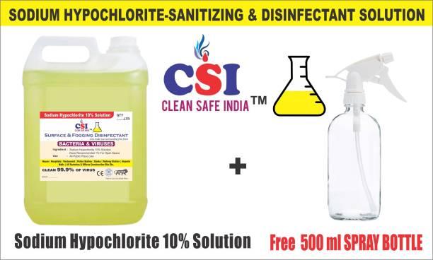 CLEAN SAFE INDIA SODIUM HYPOCHLORITE SOLUTION (SANITIZING SPRAY) Cleaner 5ltr (5000 ml) 10% solution, kills bacteria/germs/viruses, etc.