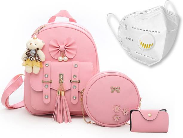 Prestigious Smart Choice 3-PCS Fashion Cute Stylish Leather Backpack & Sling Bag Set for Women, School & College Girl's. 5 L Backpack
