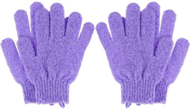 LOWPRICE Exfoliating Dual Texture Bath Gloves for Shower, Spa, Massage and Body Scrubs, Dead Skin Cell Remover, Gloves with hanging loop