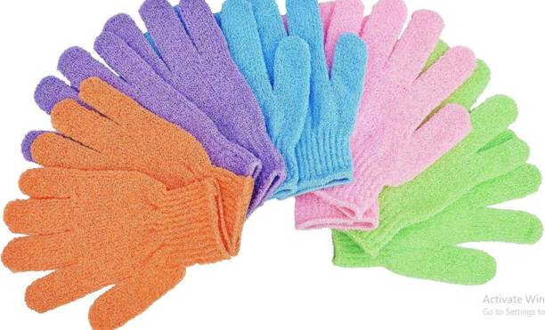 feelhigh Exfoliating Dual Texture Bath Gloves for Shower, Spa, Massage and Body Scrubs, Dead Skin Cell Remover, Gloves with hanging loop