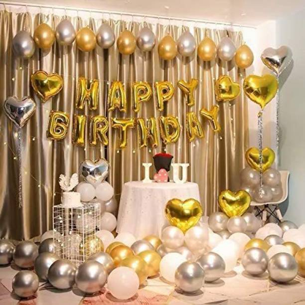 Hemito Solid 57 Pcs combo of Gold Silver Birthday decoration birthday decoration combo for Boys Girls Wife Adult Husband Mom Dad/Happy Birthday Decorations Items Set Balloon