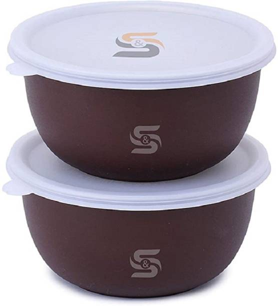 S&S Microwave Safe Plastic Coated Euro Bowl Set with lid- Capacity- 750 ML Each Stainless Steel Mixing Bowl