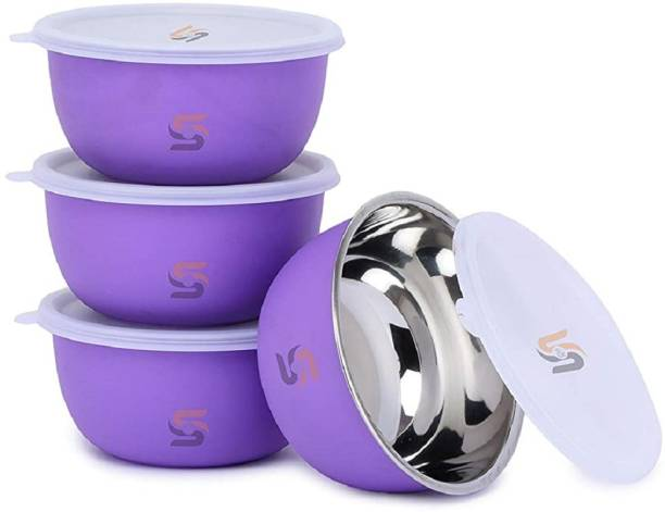 S&S Microwave Safe Plastic Coated Euro Bowl Set with lid- Capacity: 750 ML Each Stainless Steel Mixing Bowl
