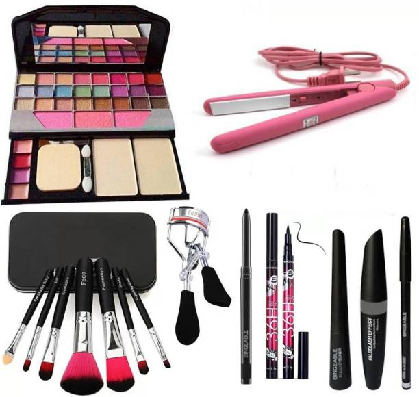 Bingeable BLACK Smudge Proof Kajal,3in1 Combo set,36h Eyeliner,Curler,Set of 7 BLACK/PINK Makeup Brushes,All in One Best Makeup kit 6155 (Eyeshadow,Blusher,Compact,Lip Gloss) & Professional Hold/Styling Mini Hair Straightener