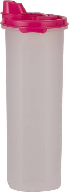 POLYSET Magic Seal Tall Round Oil Cannister Pink Lid - Transparent Bottom  - 800 ml Plastic Utility Container
