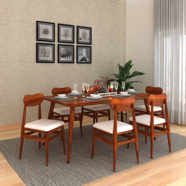 FURINNO Solid Wood 6 Seater Dining Set