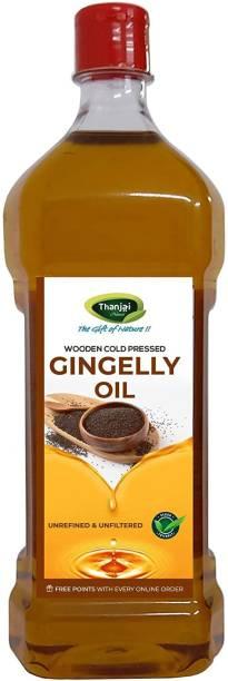 THANJAI NATURAL Virgin Gingelly Oil 1Ltr Wooden Cold Pressed/Sesame Oil for Cooking- Heart Health/Unrefined/Cholesterol Free /No Preservatives Sesame Oil Plastic Bottle