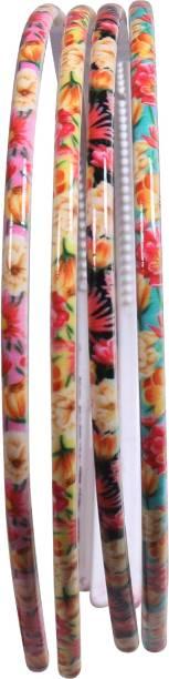Tripin Printed Design & Multi Color (8 mm) Random Design Plastic Hair Bands (Pack Of 4) Hair Band (Multicolor) Hair Band