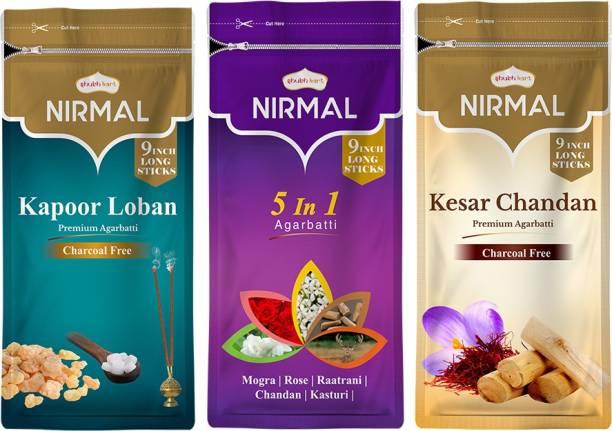 Shubhkart Nirmal Incense Stick Kesar Chandan, Kapoor Loban, 5 in 1
