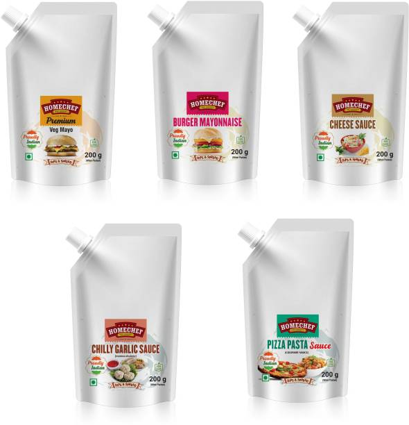 HOMECHEF Premium veg mayonnaise Burger mayonnaise Cheese sauce chilly garlic chutney for momo pizza pasta sauce topping combo for sandwich mayo 1kg Sauces & Ketchup