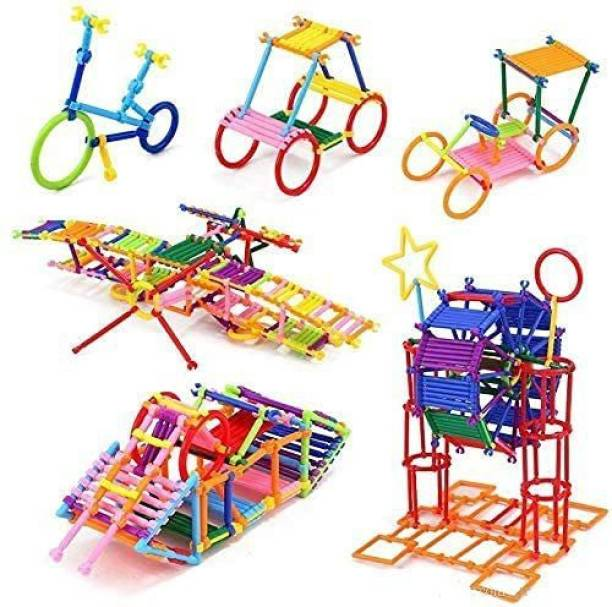 ARONET 200 pcs + Assembly Colorful Straw Educational Block Games for Kids Dream Colorful Activity Sticks Building Blocks (Include 200+ Stick)