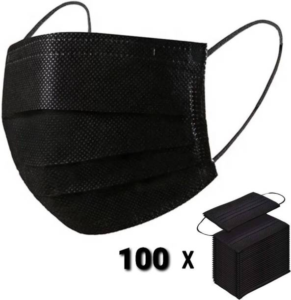 Vaghani 100 Black Units With Nose Pin Disposable Iso Mark 3 Ply Pharmaceutical Breathable Surgical Pollution Face Mask Respirator with 3 Layer For Men, Women, Kids 3 Ply Surgical Mask (100 Piece) ( With Nose Pin )( Black ) Surgical Mask With Melt Blown Fabric Layer