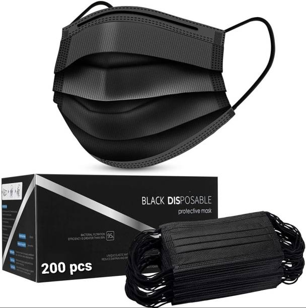 Vaghani 200 Pcs With Nose Pin Black Units With Nose Pin Disposable Iso Mark 3 Ply Pharmaceutical Breathable Surgical Pollution Face Mask Respirator with 3 Layer For Men, Women, Kids 3 Ply Surgical Mask (200 Piece) ( Black ) Surgical Mask With Melt Blown Fabric Layer
