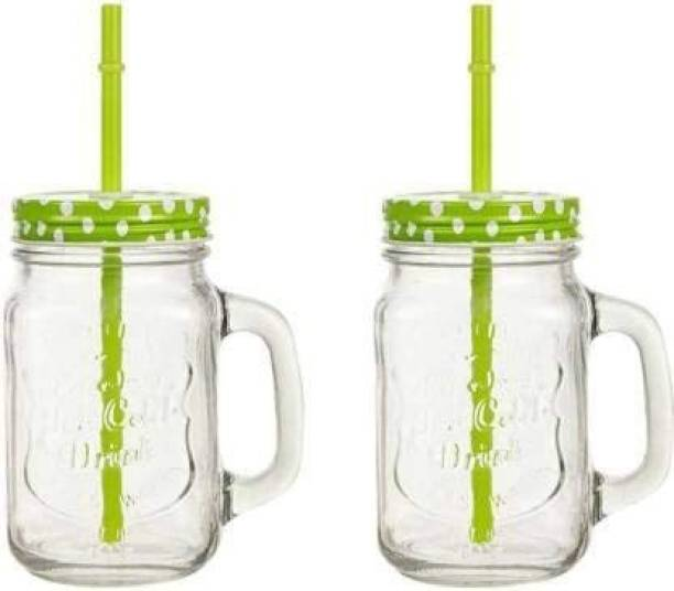 Coco Kitchen Glass Mason Jar With Metal Lid And Reusable Straw For Drinks, Beverages (2 Pieces, Random Color, 450 ml) Glass Mason Jar