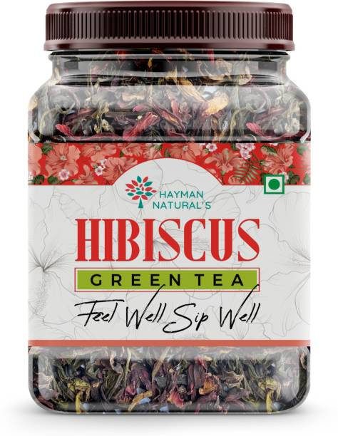HAYMAN NATURAL'S Hibiscus Green Tea Leaves ( 100g-82 cups) Blend of Dried Flowers,Natural Care Tea Hibiscus Tea Plastic Bottle