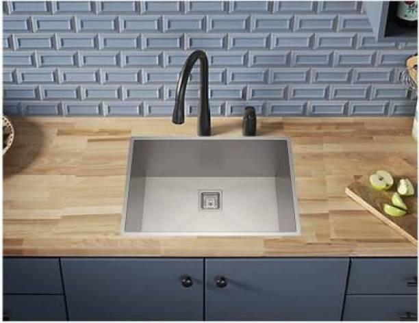 """Zesta (24""""X18""""X10"""") HAND MADE KITCHEN SINK Luxury 304 Grade Stainless Steel Single Bowl Kitchen Sink (24x18 x9)-Inch (Silver)-Gloss Finish Handmade Vessel Sink"""