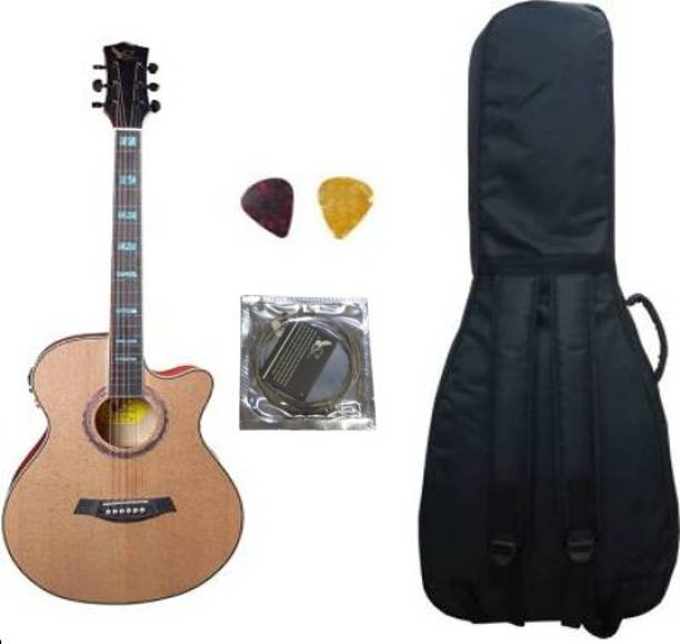 swan7 40C Semi Acoustic Guitar Natural Matt Maven Series with Equalizer With Bag and Picks Semi-acoustic Guitar Spruce Rosewood Right Hand Orientation with String Semi-acoustic Guitar Spruce Rosewood Right Hand Orientation