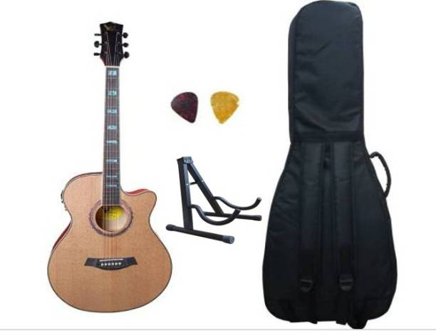 swan7 40C Semi Acoustic Guitar Natural Matt Maven Series with Equalizer With Bag and Picks Semi-acoustic Guitar Spruce Rosewood Right Hand Orientation with Stand Semi-acoustic Guitar Spruce Rosewood Right Hand Orientation