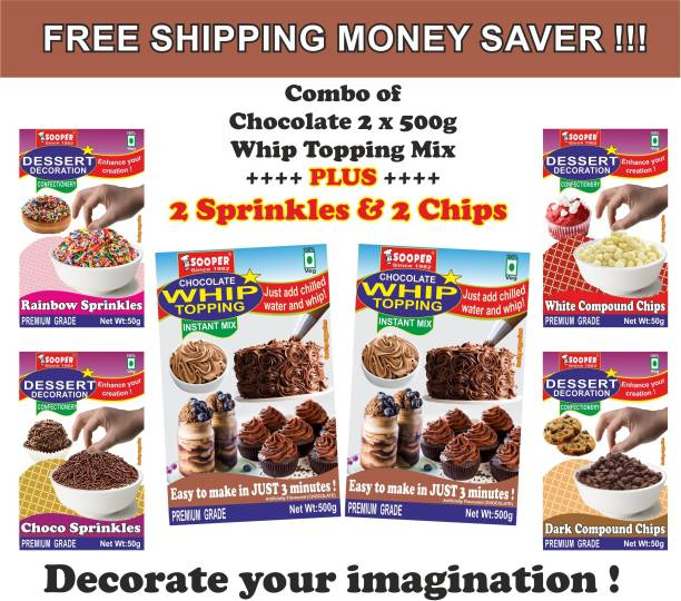 SOOPER WHIP TOPPING CHO PREMIX 2x500g + 4x50g DESSERT DECORATIONS Topping